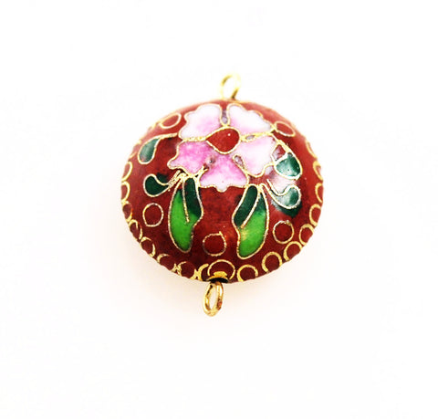 Red Cloisonne Floral Pendant Vintage Chinese