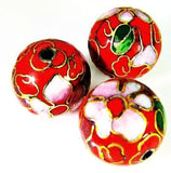 Cloisonne Red Round Beads