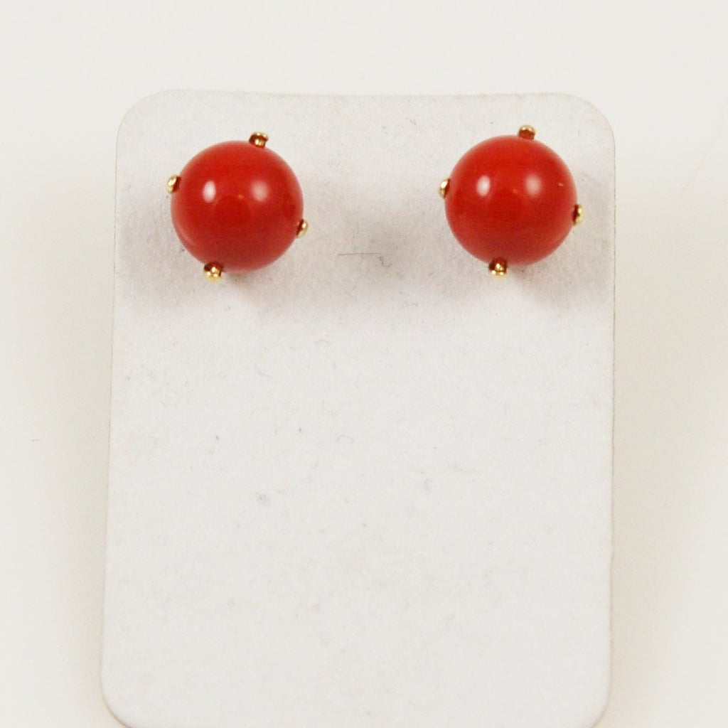 Italian Red Coral 8mm Earrings 14K Gold Posts