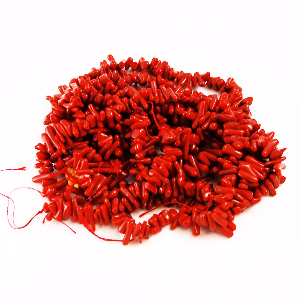 Red Coral Branch Bead Strands