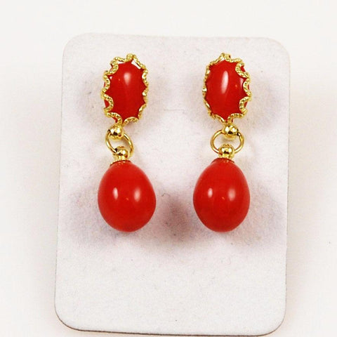 Italian Red Coral Drop Earrings 18Kt Gold