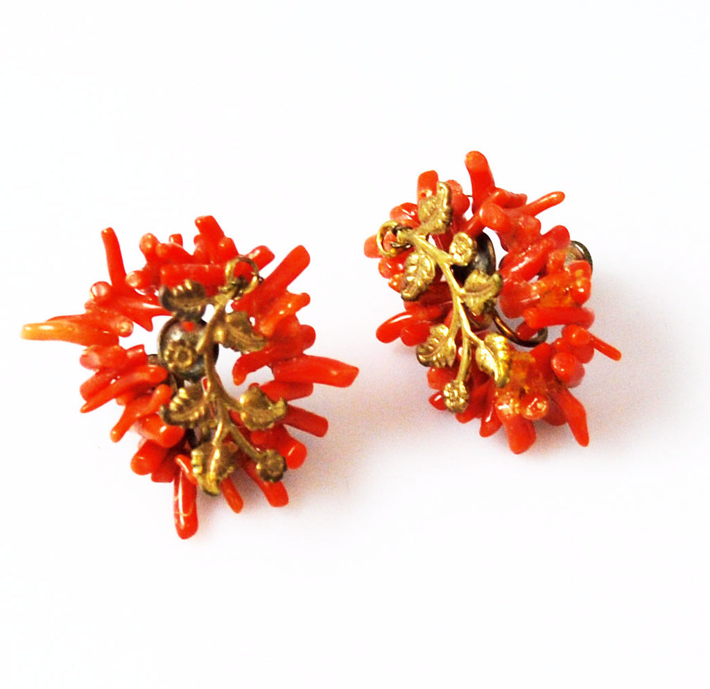 Victorian Branch Coral Earrings with Gilt Leaves