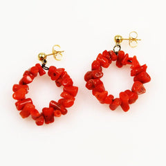 Red Branch Coral Earrings 14K Gold