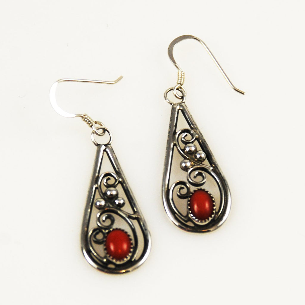 Red Coral Native American Earrings