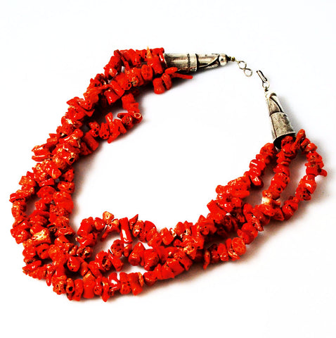 Native American Red Coral & Sterling Necklace by HT Summers