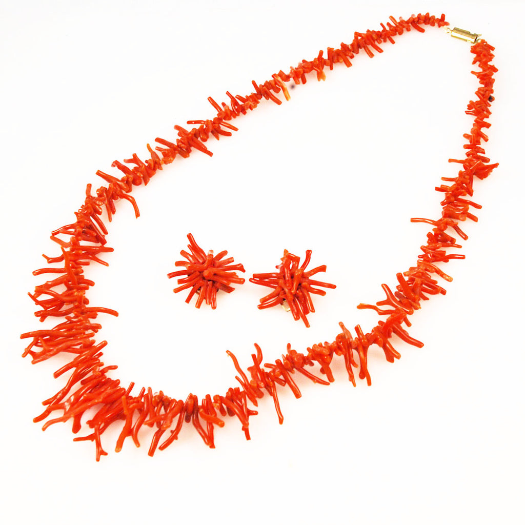 Natural Red Branch Coral Necklace and Earring Set