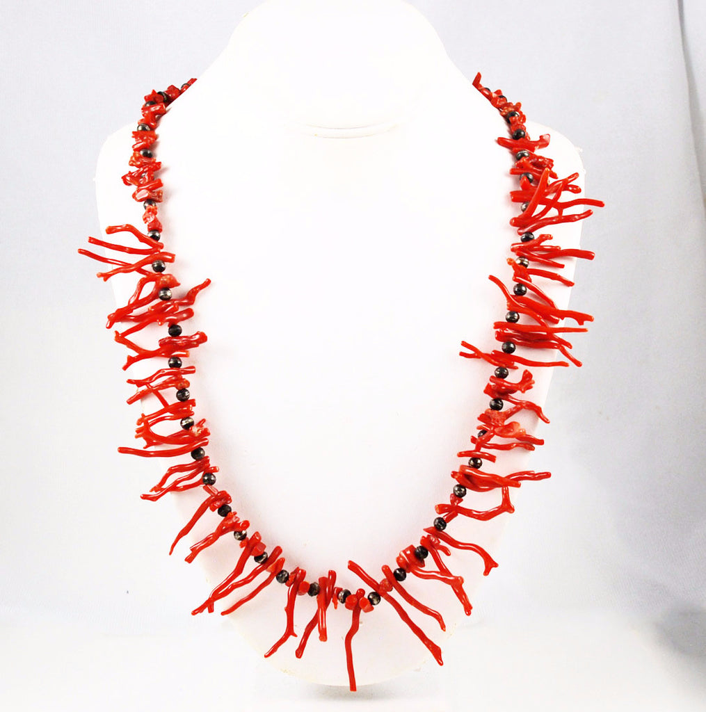 Native American Red Branch Coral & Sterling Necklace