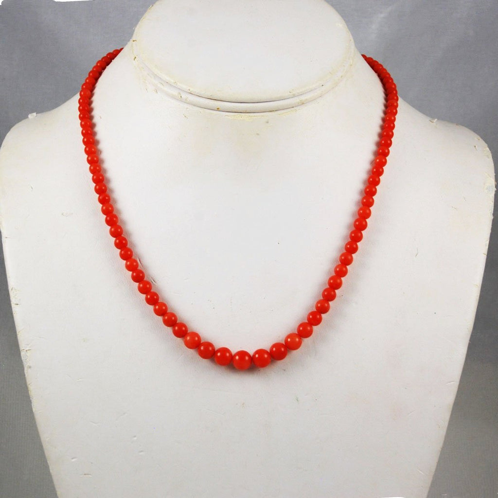 Natural Red Coral Graduated Necklace 18K Clasp