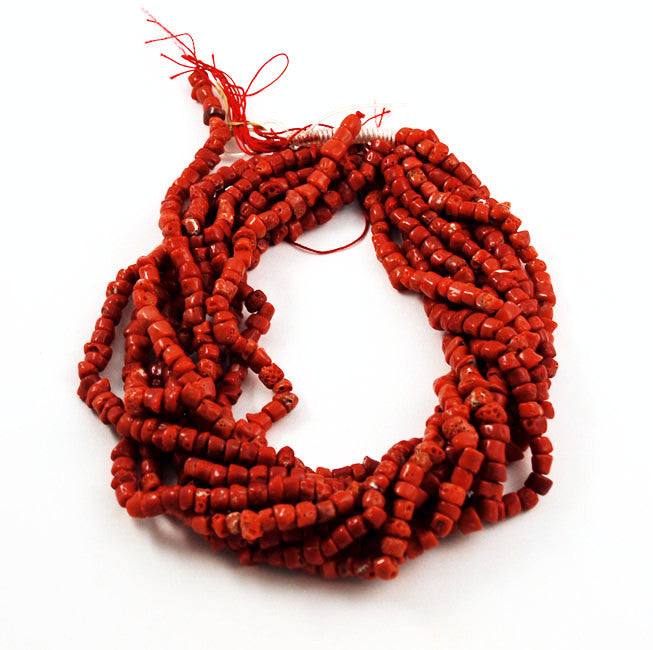 Italian Red Coral Rondelle Strands - All Natural