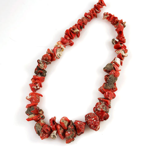 Italian Red Coral Nugget Beads Natural Antique