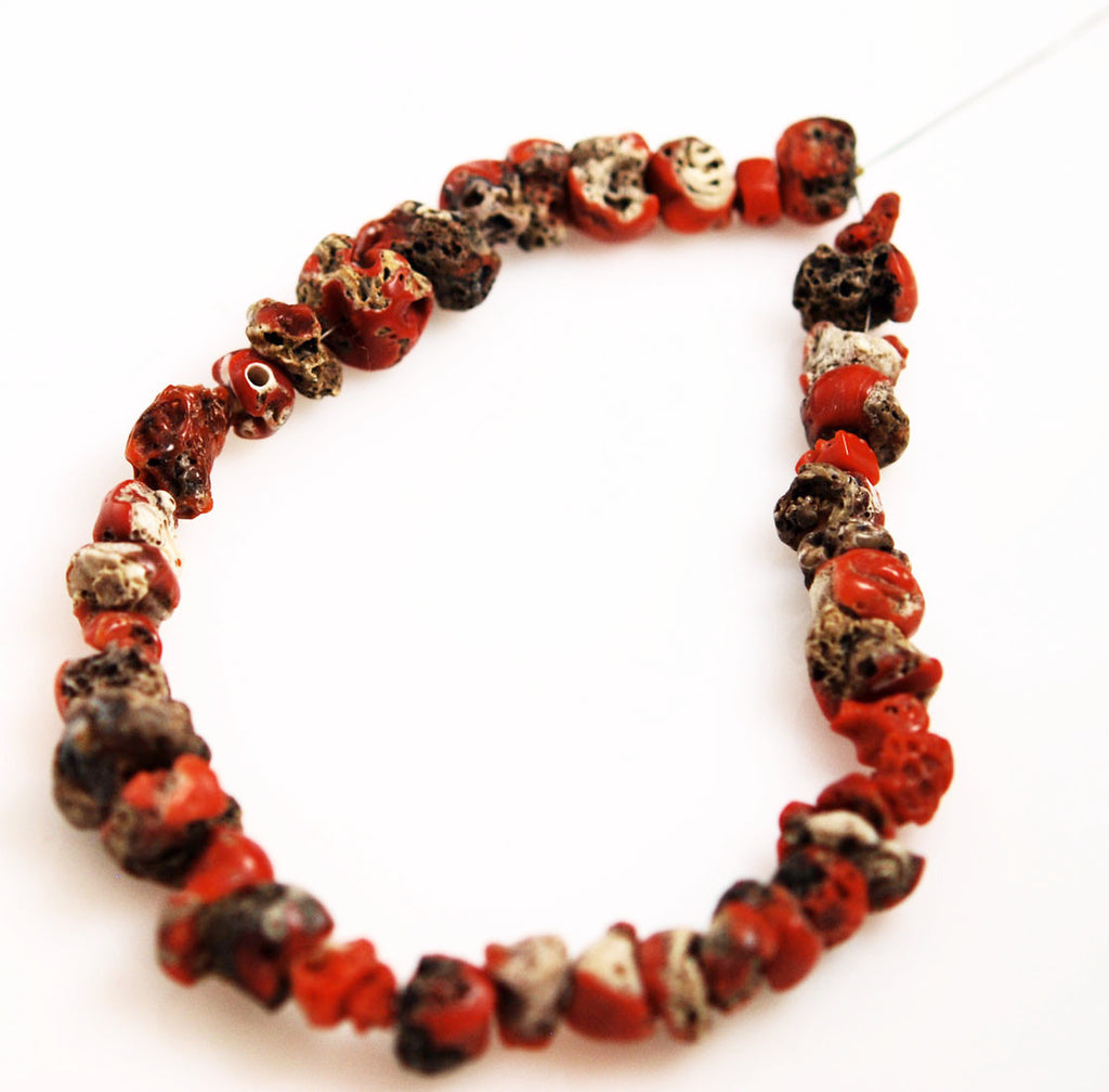 Italian Red Coral Nugget Strand- All Natural