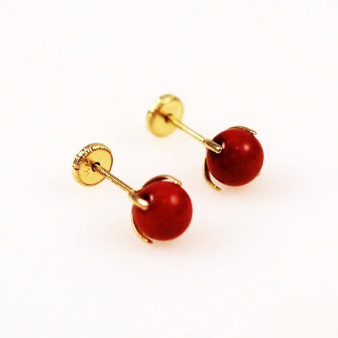 Red Coral Earrings 14K Gold Posts