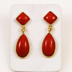 Italian Red Coral Tear Drop Earrings 18Kt Gold