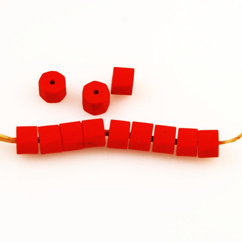 Red Coral Glass Trade Beads Heptagon
