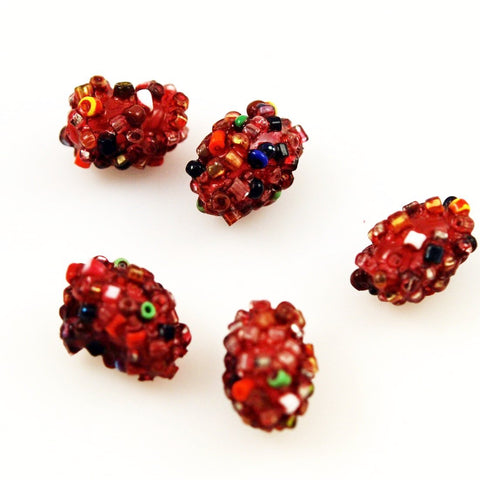 Red Glass Crumb Beads - Vintage 20mm