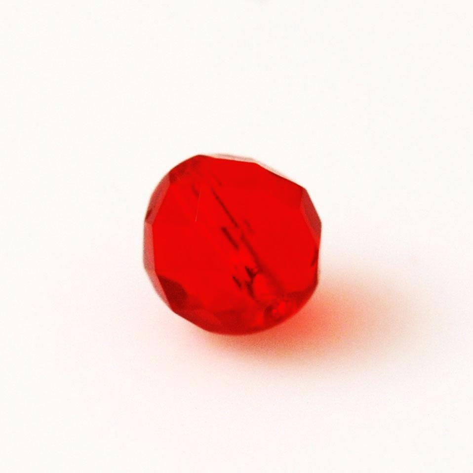 Red Faceted 10mm Glass Beads