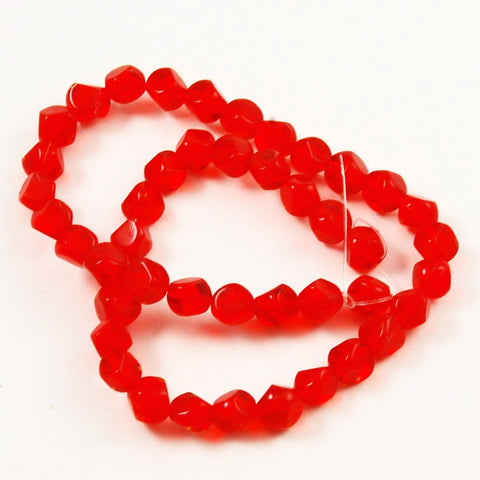 Red Faceted 8mm Glass Beads
