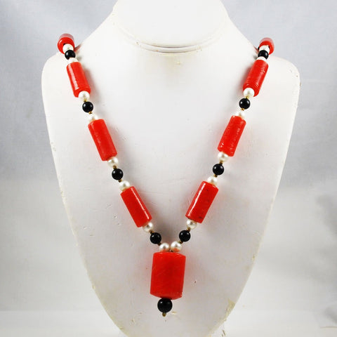 Red Glass African Trade Bead Necklace