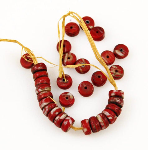 African Trade Beads Kancamba Red & White Glass 7mm