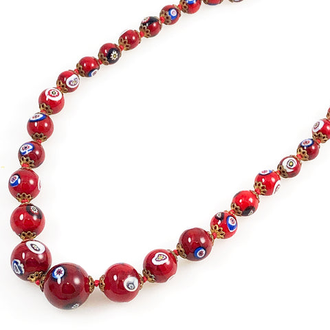 Italian Red Millefiori Bead Necklace