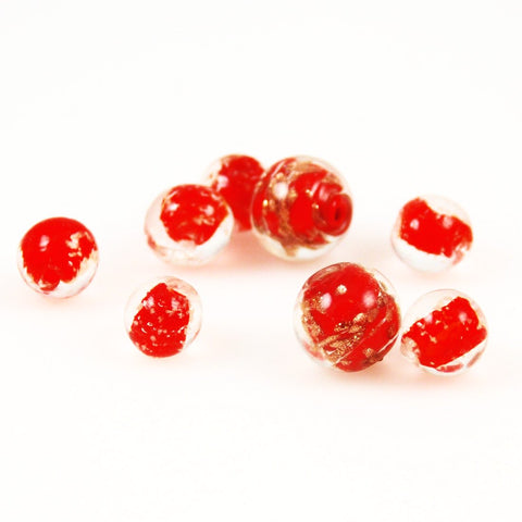 Red Venetian Glass Beads Vintage