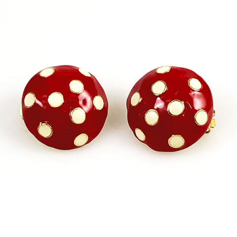 Red Polka Dot Enamel Earrings Clip Ons