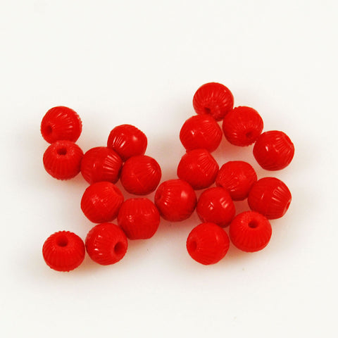 African Trade Red Fluted Prosser Beads