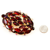 Large Red Rhinestone Brooch