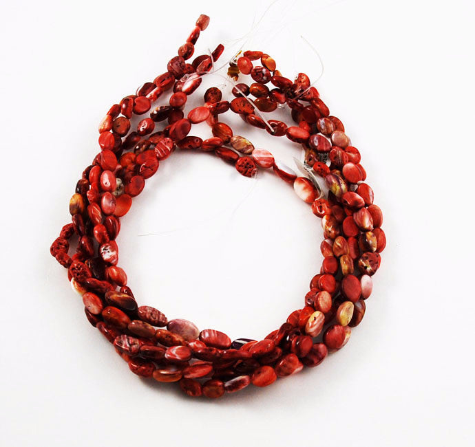 Red Spiny Oyster Shell Oval Beads