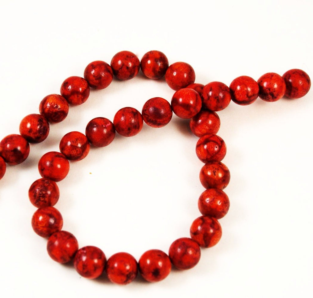 Red Sponge Coral Round Beads
