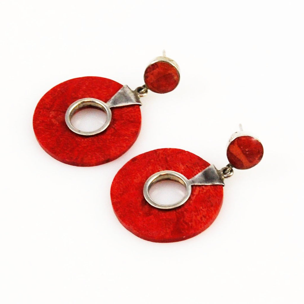 Red Coral & Sterling Earrings