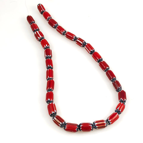 Red White & Black Chevron Beads