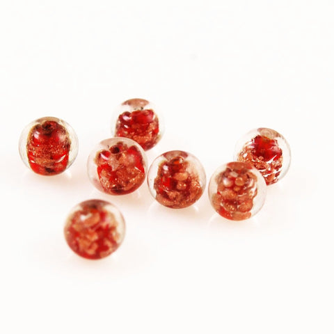 Red Venetian Glass Beads 9mm Vintage