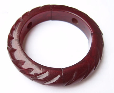 Carved Red Lucite Expansion Bangle Bracelet