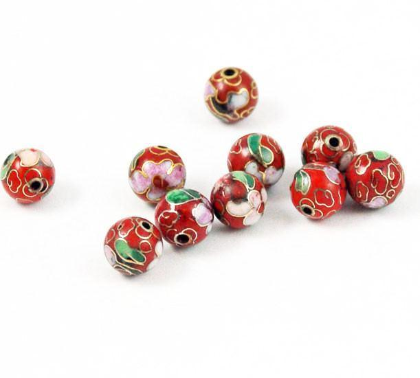 Cloisonne Red Round Beads Vintage Chinese