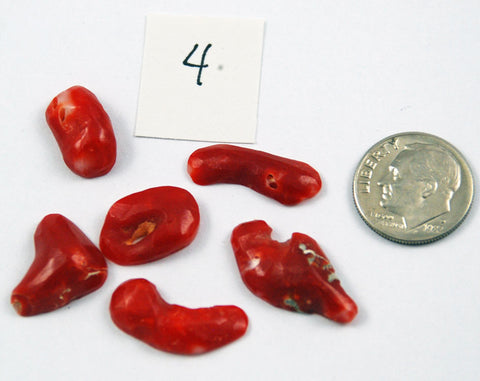 Natural Italian Red Coral Cabochons Lot 4