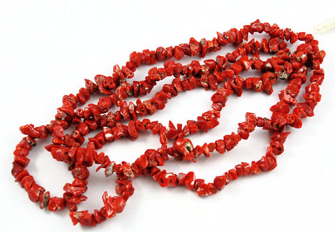 Italian Red Coral Chip Strands - All Natural