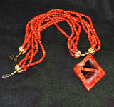 Red Coral Pendant Necklace Vintage