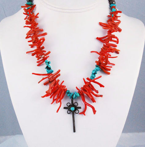 Native American Red Coral & Turquoise Cross Necklace