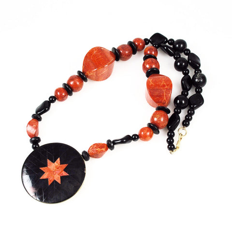 Red Coral Star Pendant Necklace Vintage