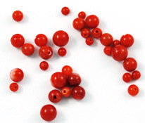 Half Drilled Italian Red Coral Rounds - All Natural