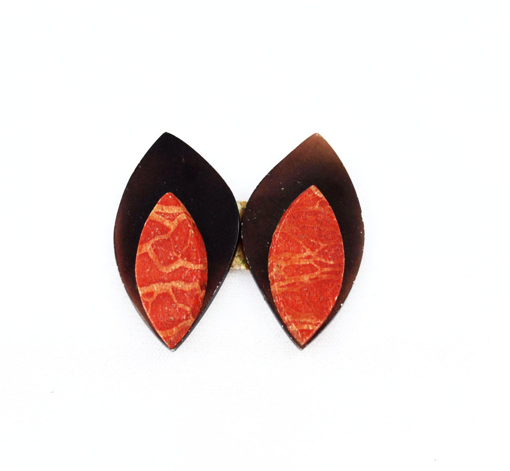 Red Coral and Horn Cabochons