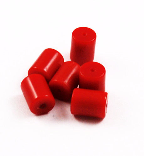 Cherry Red Lucite Barrel Beads 9x12mm
