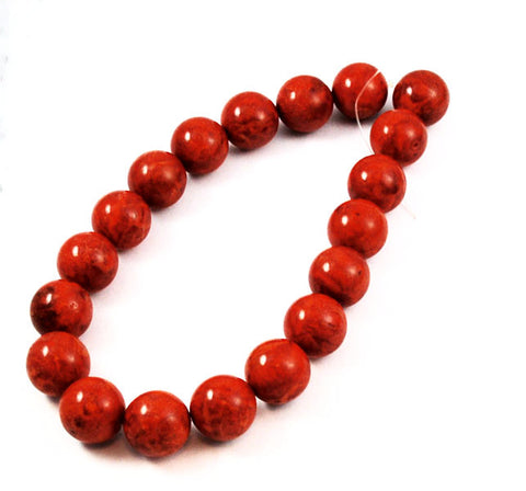 Red Sponge Coral Round Bead Strands