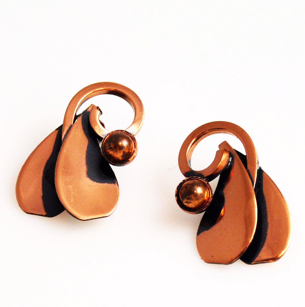 Renoir Copper Clip On Earrings