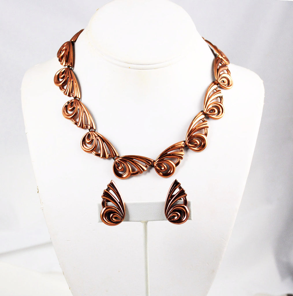 Renoir Copper Butterfly Necklace & Earrings
