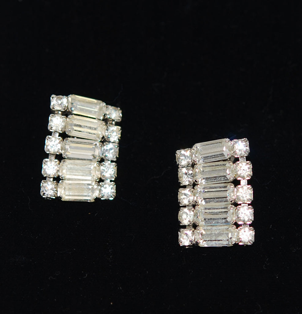 Rhinestone Clip On Earrings Vintage