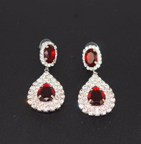 Ruby Red Rhinestone Drop Earrings
