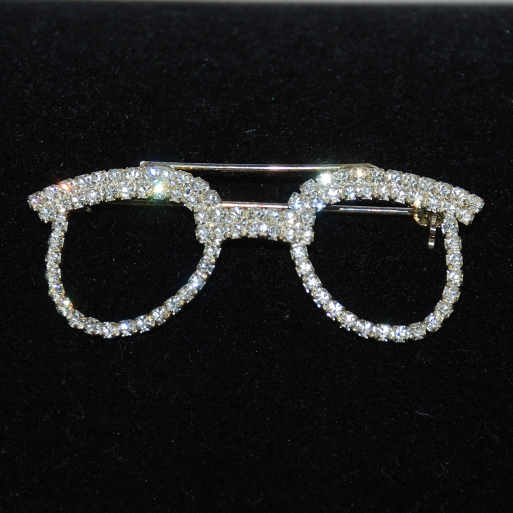 Rhinestone Eye Glasses Brooch Vintage