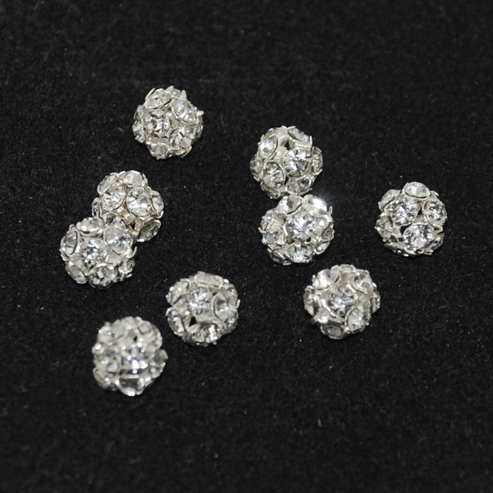 Silver Plated Full Crystal AB Rhinestone Balls 8mm - 6 beads